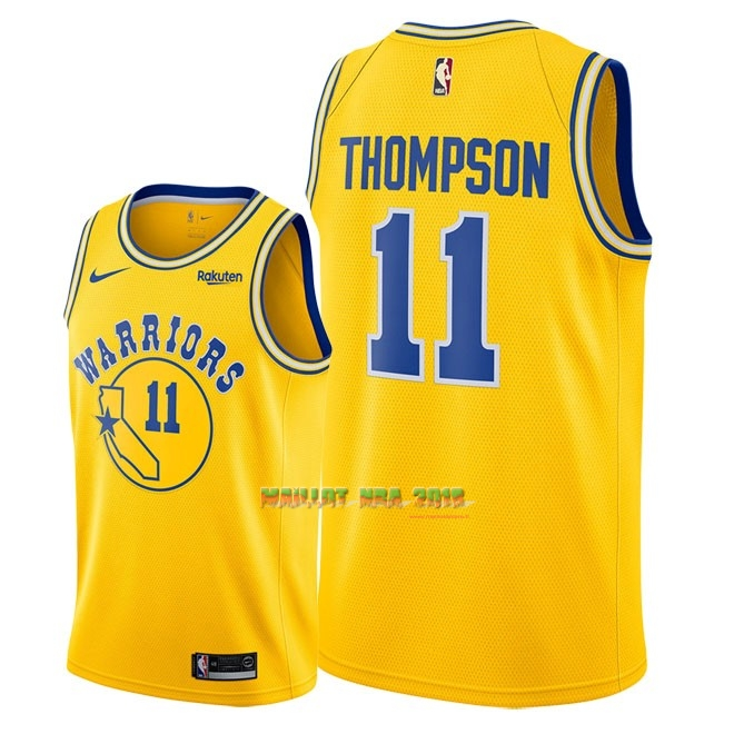 Maillot NBA Nike Golden State Warriors NO.11 Klay Thompson Retro Jaune 2018-19