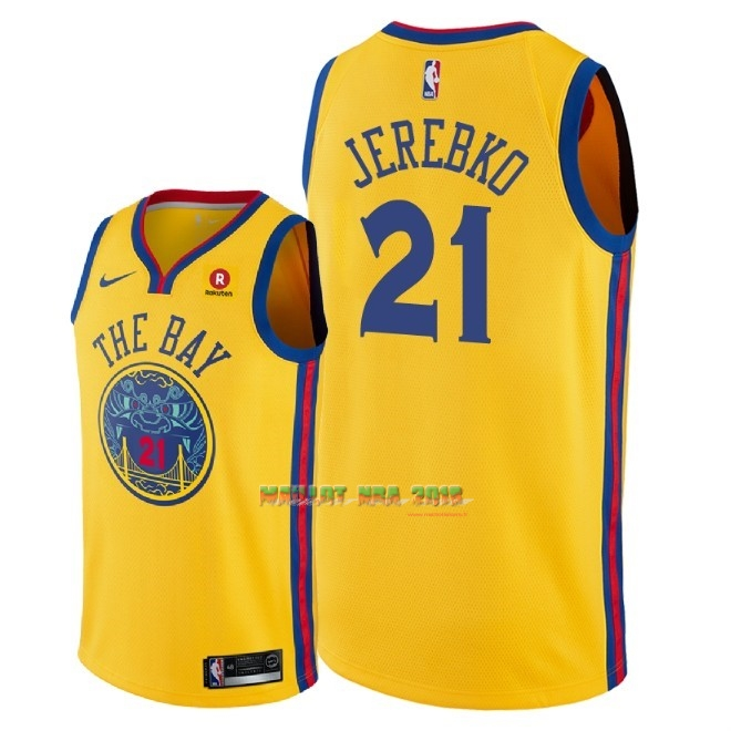Maillot NBA Nike Golden State Warriors NO.21 Jonas Jerebko Jaune Ville 2018