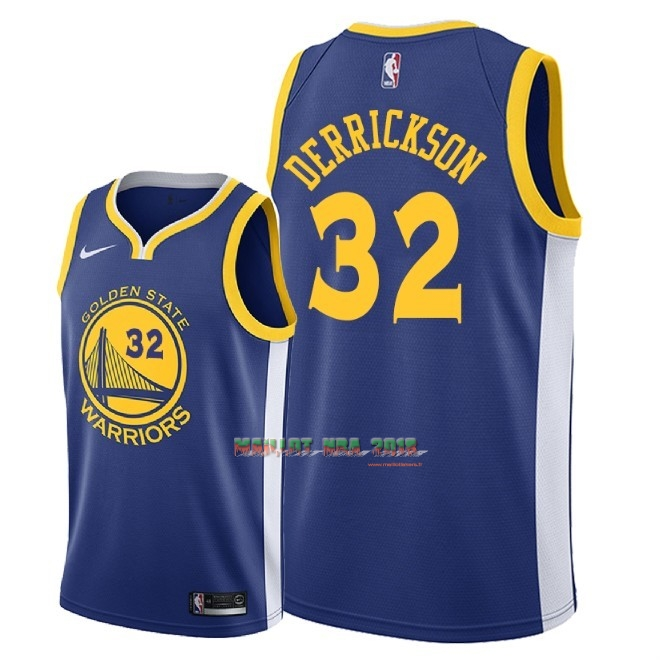 Maillot NBA Nike Golden State Warriors NO.32 Marcus Derrickson Bleu Icon 2018