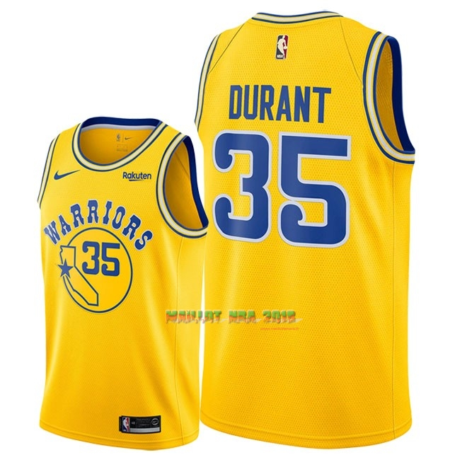 Maillot NBA Nike Golden State Warriors NO.35 Kevin Durant Retro Jaune 2018-19