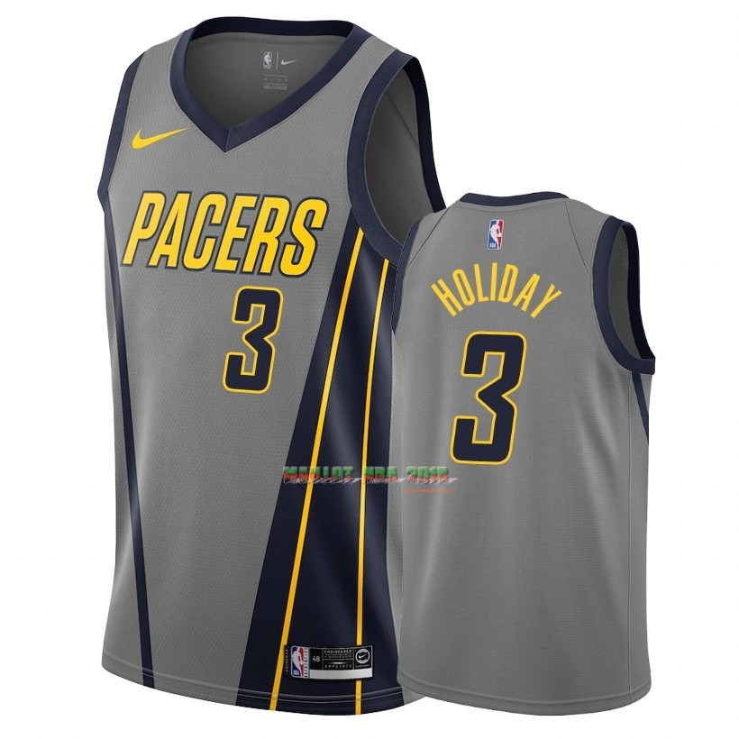 Maillot NBA Nike Indiana Pacers NO.3 Aaron Holiday Nike Gris Ville 2018-19