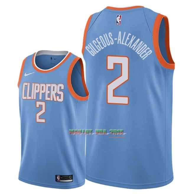 Maillot NBA Nike Los Angeles Clippers NO.2 Shai Gilgeous Alexander Nike Bleu Ville 2018