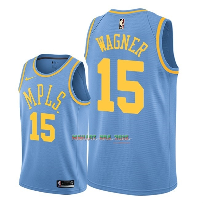 Maillot NBA Nike Los Angeles Lakers NO.15 Moritz Wagner Retro Bleu 2018