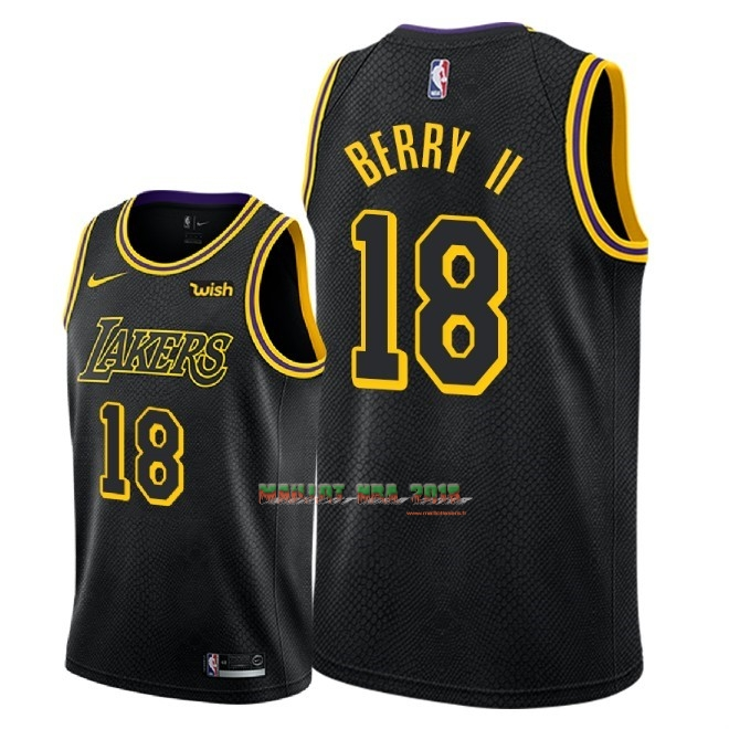 Maillot NBA Nike Los Angeles Lakers NO.18 Joel Berry II Noir Ville 2018