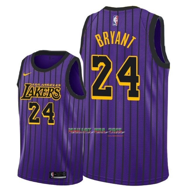 Maillot NBA Nike Los Angeles Lakers NO.24 Kobe Bryant Nike Pourpre Ville 2018-19