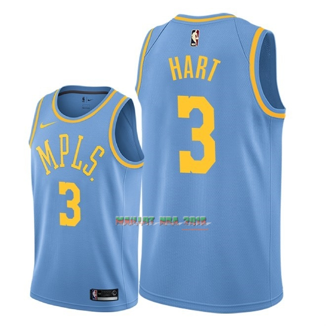 Maillot NBA Nike Los Angeles Lakers NO.3 Josh Hart Retro Bleu 2018