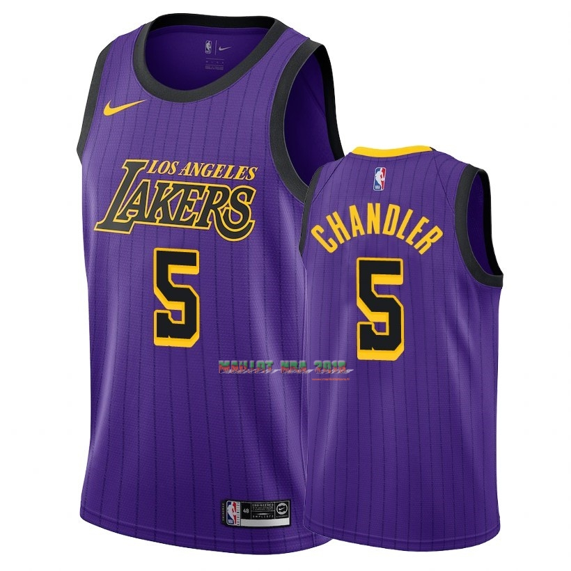 Maillot NBA Nike Los Angeles Lakers NO.5 Tyson Chandler Nike Pourpre Ville 2018-19