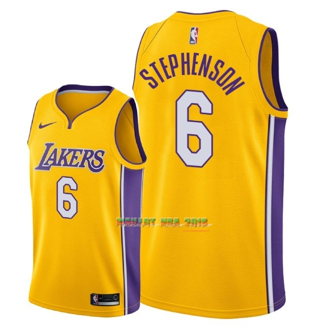 Maillot NBA Nike Los Angeles Lakers NO.6 Lance Stephenson Jaune Icon 2018