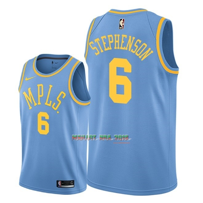 Maillot NBA Nike Los Angeles Lakers NO.6 Lance Stephenson Retro Bleu 2018