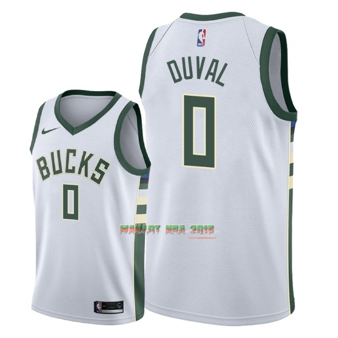 Maillot NBA Nike Milwaukee Bucks NO.0 Trevon Duval Blanc Association 2018