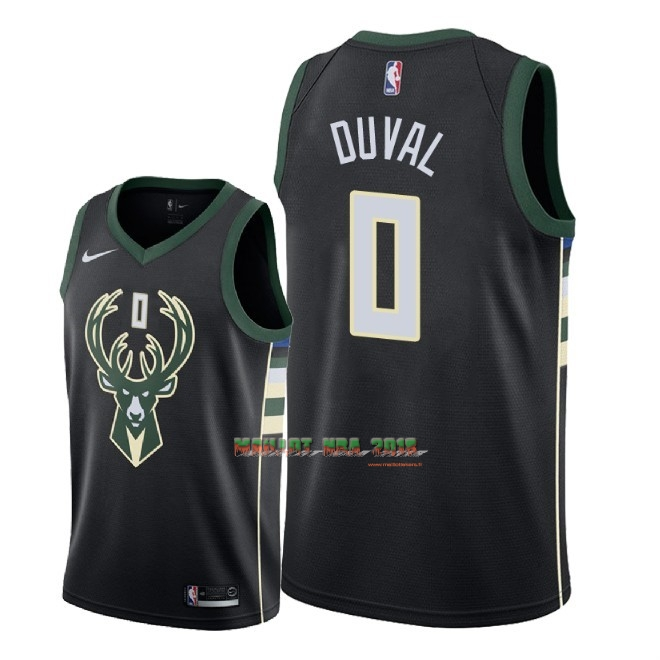 Maillot NBA Nike Milwaukee Bucks NO.0 Trevon Duval Noir Statement 2018