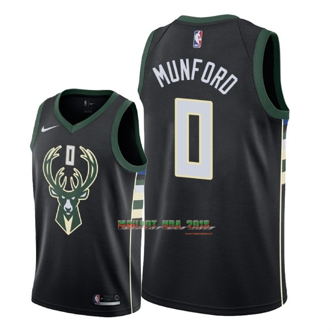 Maillot NBA Nike Milwaukee Bucks NO.0 Xavier Munford Noir Statement 2018