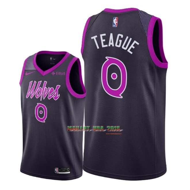 Maillot NBA Nike Minnesota Timberwolves NO.0 Jeff Teague Pourpre Ville 2018-19