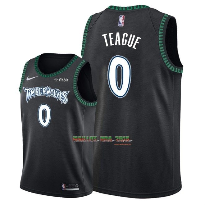 Maillot NBA Nike Minnesota Timberwolves NO.0 Jeff Teague Retro Noir 2018