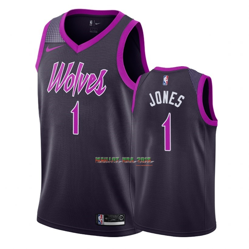 Maillot NBA Nike Minnesota Timberwolves NO.1 Tyus Jones Nike Pourpre Ville 2018-19