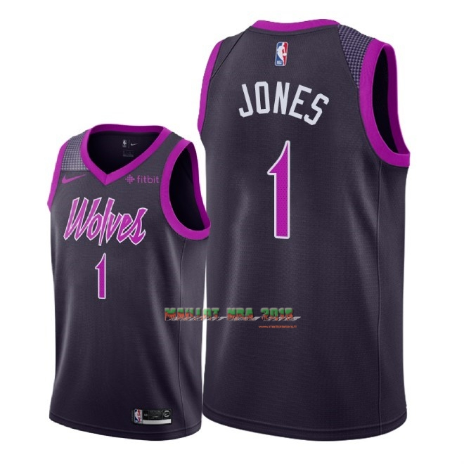 Maillot NBA Nike Minnesota Timberwolves NO.1 Tyus Jones Pourpre Ville 2018-19