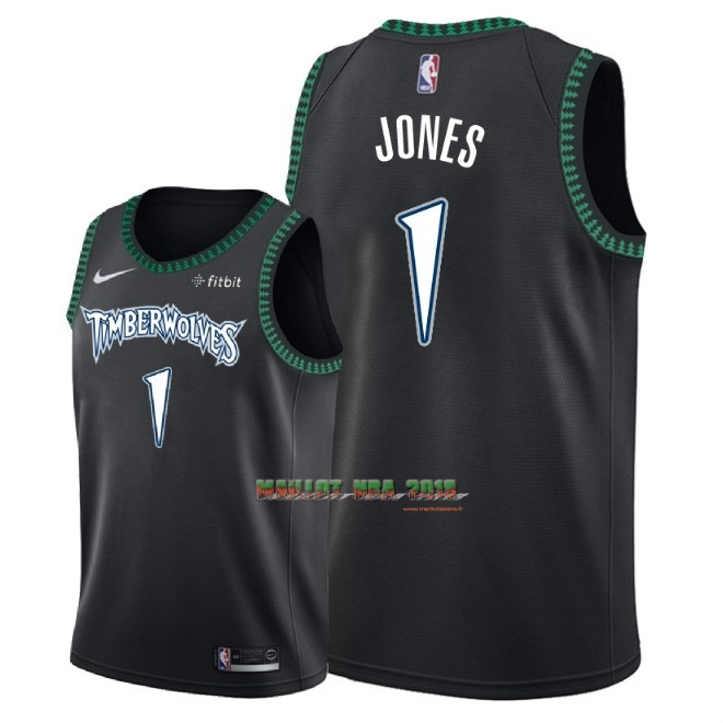 Maillot NBA Nike Minnesota Timberwolves NO.1 Tyus Jones Retro Noir 2018