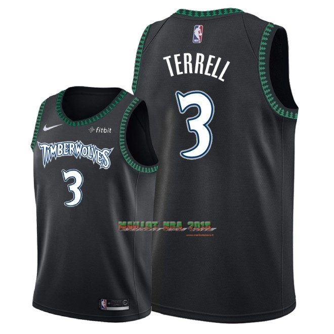 Maillot NBA Nike Minnesota Timberwolves NO.3 Jared Terrell Retro Noir 2018