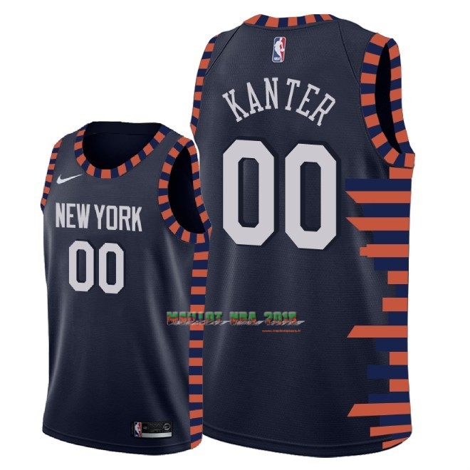 Maillot NBA Nike New York Knicks NO.0 Enes Kanter Nike Marine Ville 2018-19