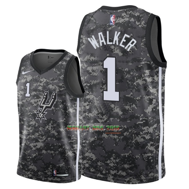 Maillot NBA Nike San Antonio Spurs NO.1 Lonnie Walker Nike Camouflage Ville 2018