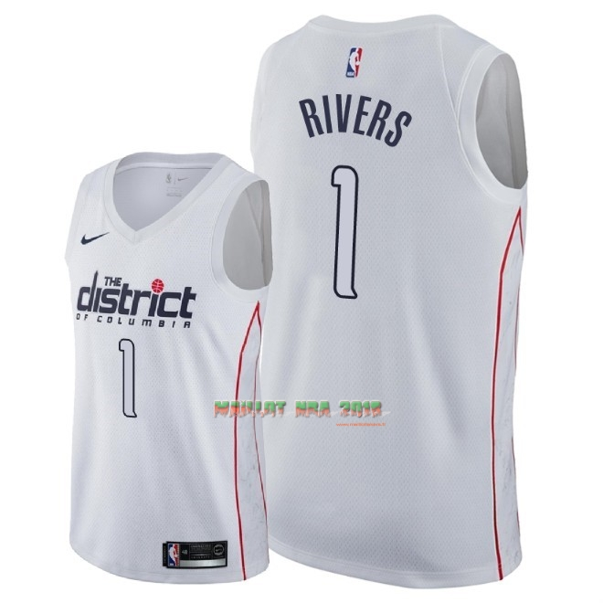 Maillot NBA Nike Washington Wizards NO.1 Austin Rivers Nike Blanc Ville 2018
