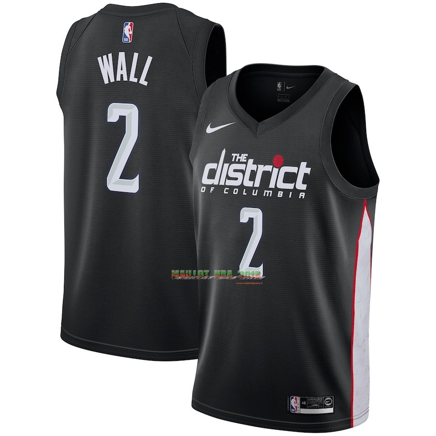 Maillot NBA Nike Washington Wizards NO.2 John Wall Nike Noir Ville 2018-19