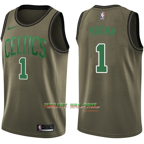 Maillot NBA Service De Salut Boston Celtics NO.1 Walter Brown Nike Armée verte 2018