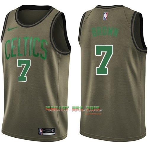 Maillot NBA Service De Salut Boston Celtics NO.7 Jaylen Brown Nike Armée verte 2018