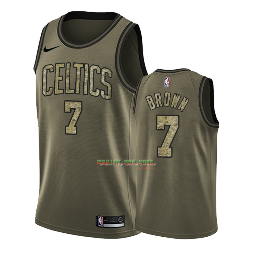 Maillot NBA Service De Salut Boston Celtics NO.7 Jaylen Brown Nike Camouflage Vert 2018