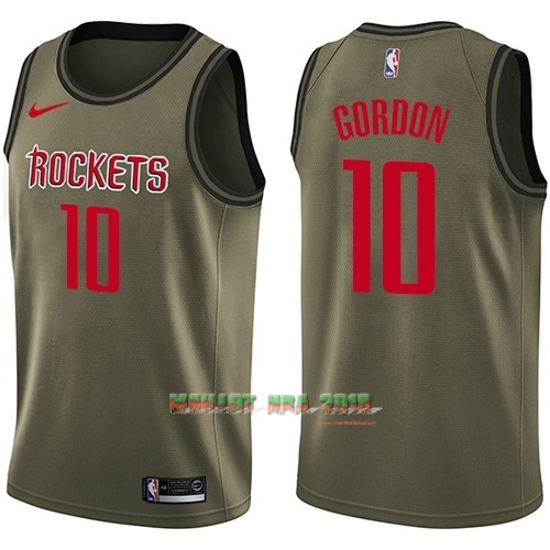 Maillot NBA Service De Salut Houston Rockets NO.10 Eric Gordon Nike Armée verte 2018