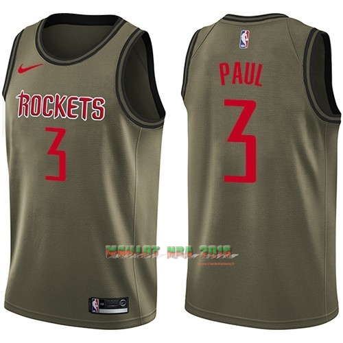 Maillot NBA Service De Salut Houston Rockets NO.3 Chris Paul Nike Armée verte 2018