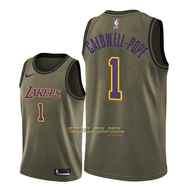 Maillot NBA Service De Salut Los Angeles Lakers NO.1 Kentavious Caldwell Pope Nike Armée verte 2018