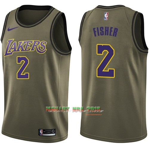Maillot NBA Service De Salut Los Angeles Lakers NO.2 Derek Fisher Nike Armée verte 2018
