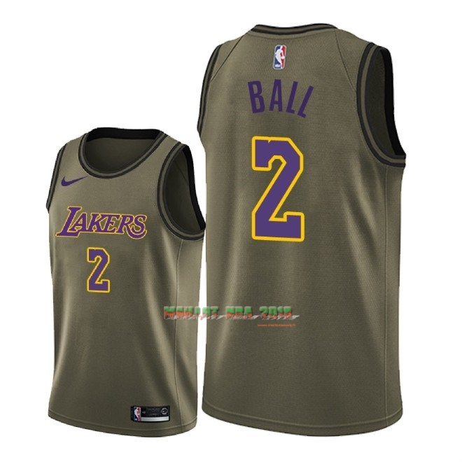 Maillot NBA Service De Salut Los Angeles Lakers NO.2 Lonzo Ball Nike Armée verte 2018