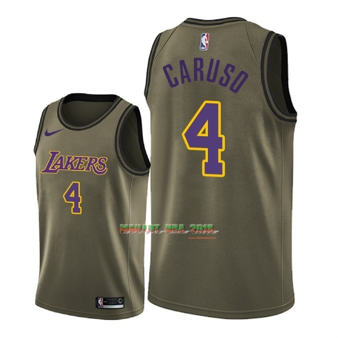 Maillot NBA Service De Salut Los Angeles Lakers NO.4 Alex Caruso Nike Armée verte 2018