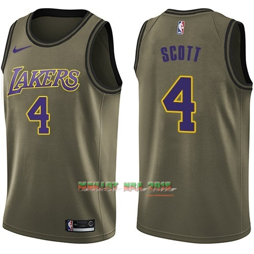 Maillot NBA Service De Salut Los Angeles Lakers NO.4 Byron Scott Nike Armée verte 2018