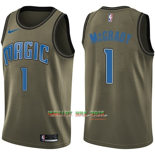 Maillot NBA Service De Salut Orlando Magic NO.1 Tracy Mcgrady Nike Armée verte 2018