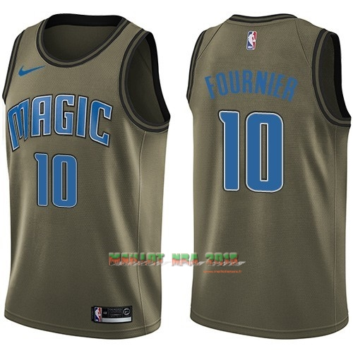 Maillot NBA Service De Salut Orlando Magic NO.10 Evan Fournier Nike Armée verte 2018