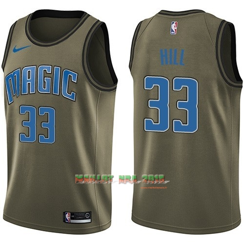Maillot NBA Service De Salut Orlando Magic NO.33 Grant Hill Nike Armée verte 2018