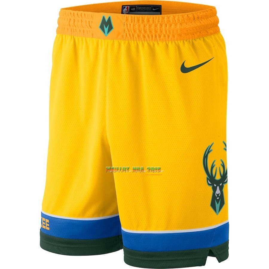 Short Basket Milwaukee Bucks Nike Jaune Ville 2018-19