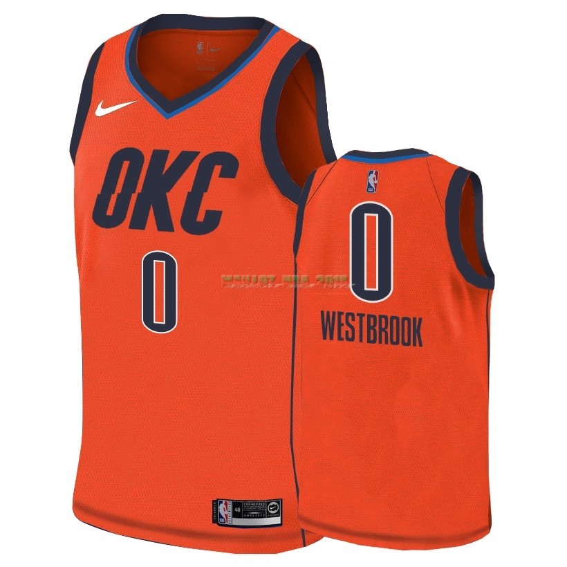 Maillot Earned Edition Oklahoma City Thunder NO.0 Russell Westbrook Orange 2018-19