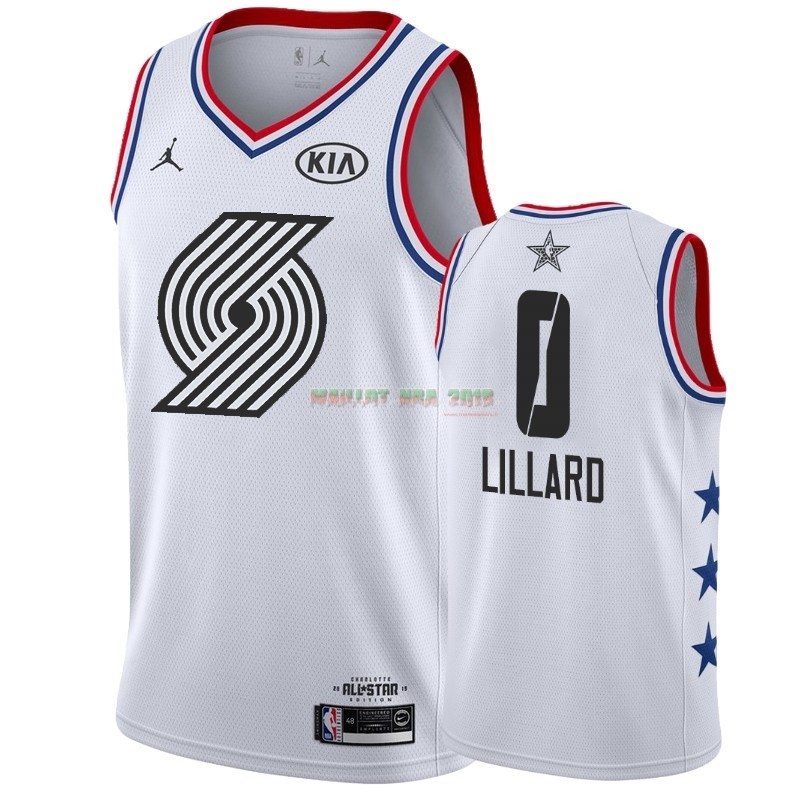 Maillot NBA 2019 All Star NO.0 Damian Lillard Blanc