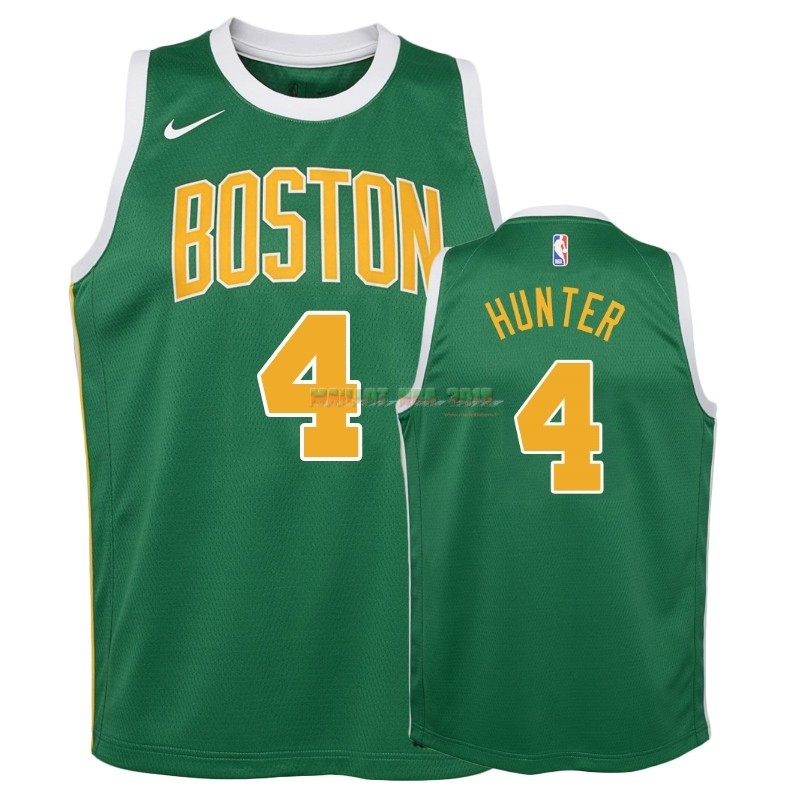 Maillot NBA Enfant Earned Edition Boston Celtics NO.4 R.J. Hunter Vert 2018-19