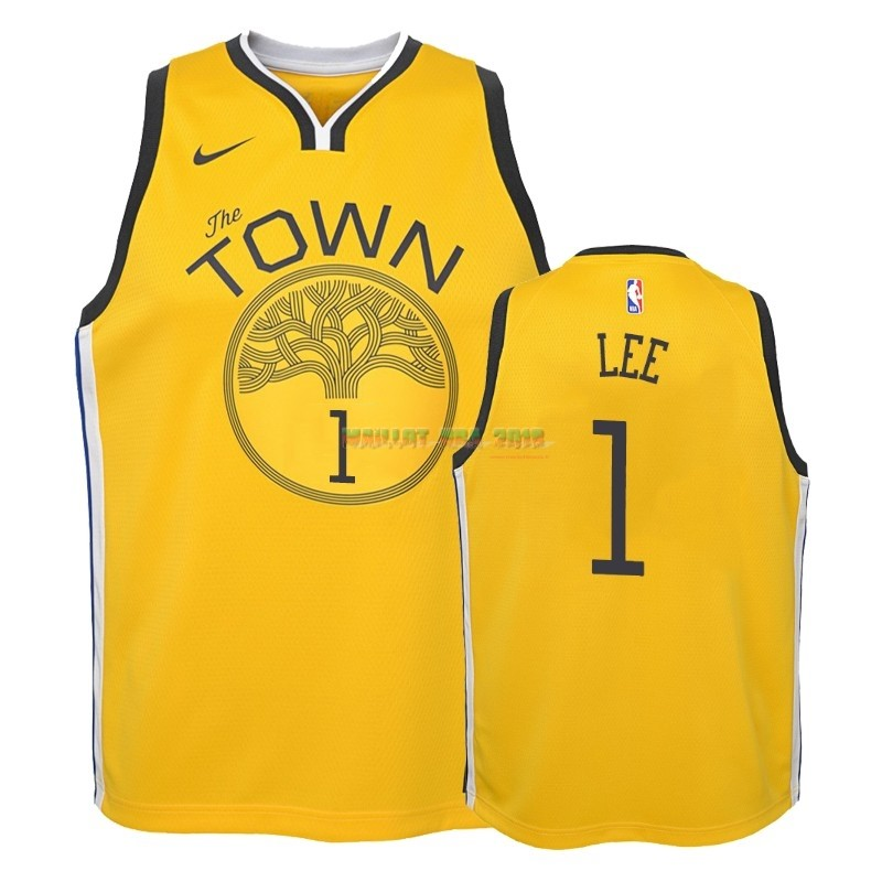 Maillot NBA Enfant Earned Edition Golden State Warriors NO.1 Damion Lee Jaune 2018-19