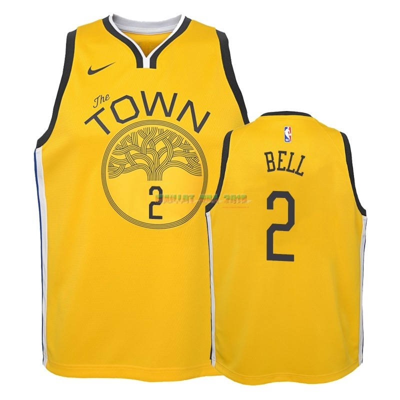 Maillot NBA Enfant Earned Edition Golden State Warriors NO.2 Jordan Bell Jaune 2018-19