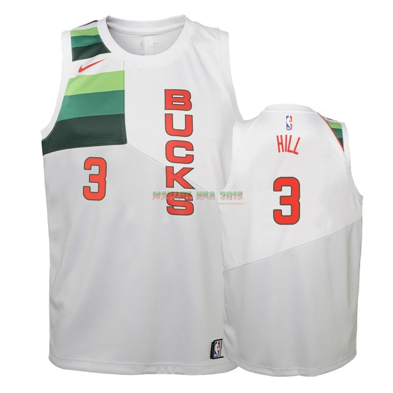 Maillot NBA Enfant Earned Edition Milwaukee Bucks NO.3 George Hill Blanc 2018-19