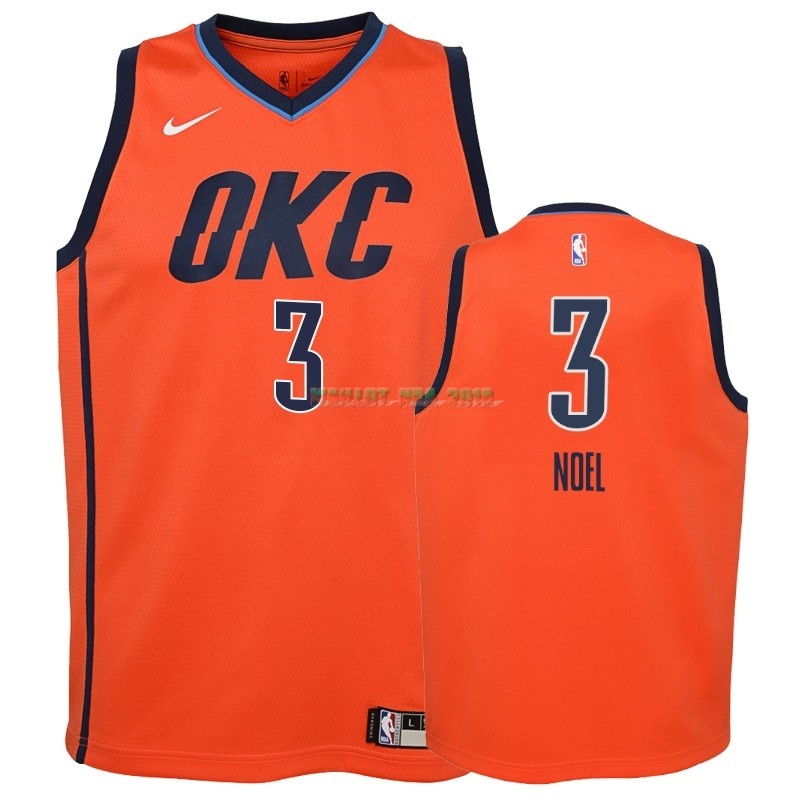 Maillot NBA Enfant Earned Edition Oklahoma City Thunder NO.3 Nerlens Noel Orange 2018-19