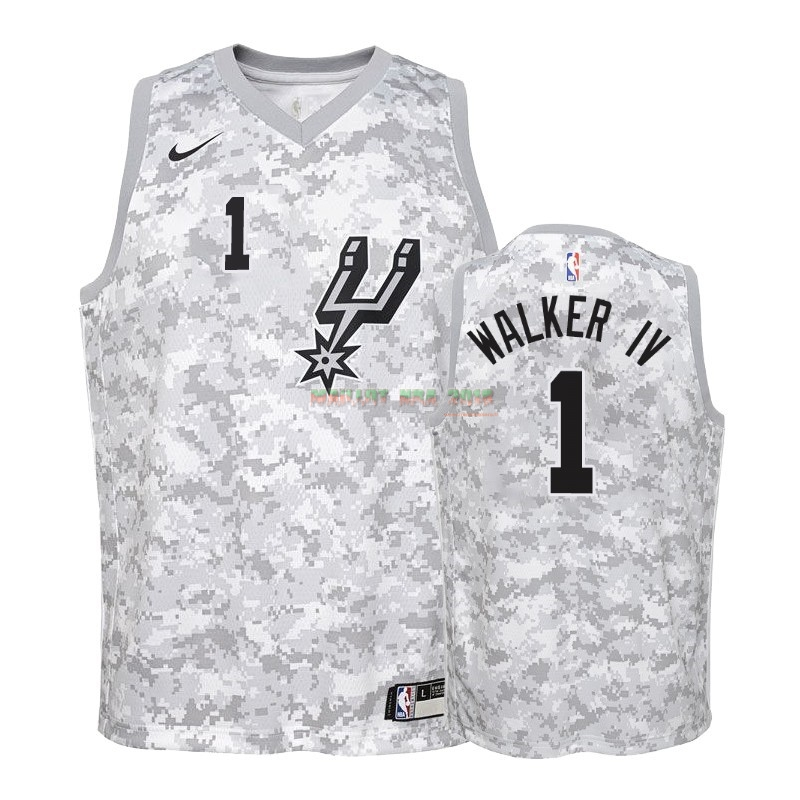Maillot NBA Enfant Earned Edition San Antonio Spurs NO.1 Lonnie Walker Gris 2018-19