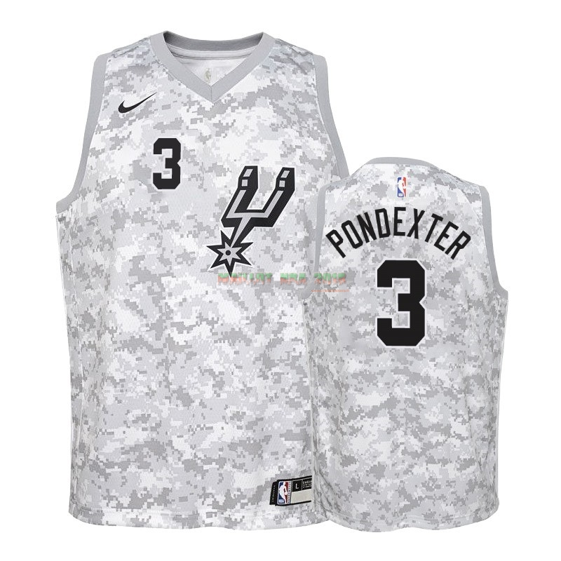 Maillot NBA Enfant Earned Edition San Antonio Spurs NO.3 Quincy Pondexter Gris 2018-19