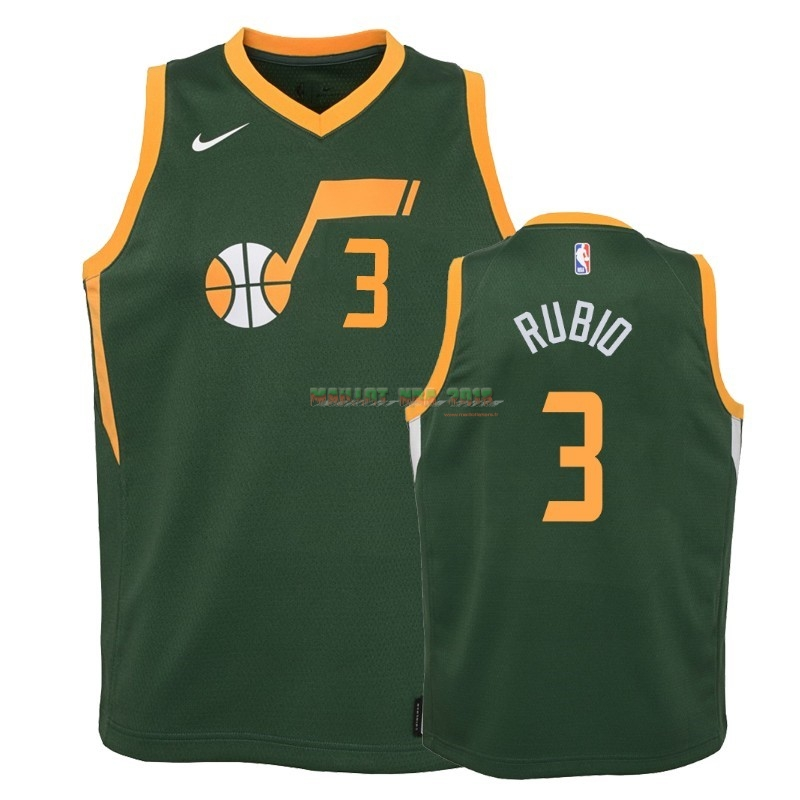 Maillot NBA Enfant Earned Edition Utah Jazz 2NO.3 Ricky Rubio Vert 2018-19